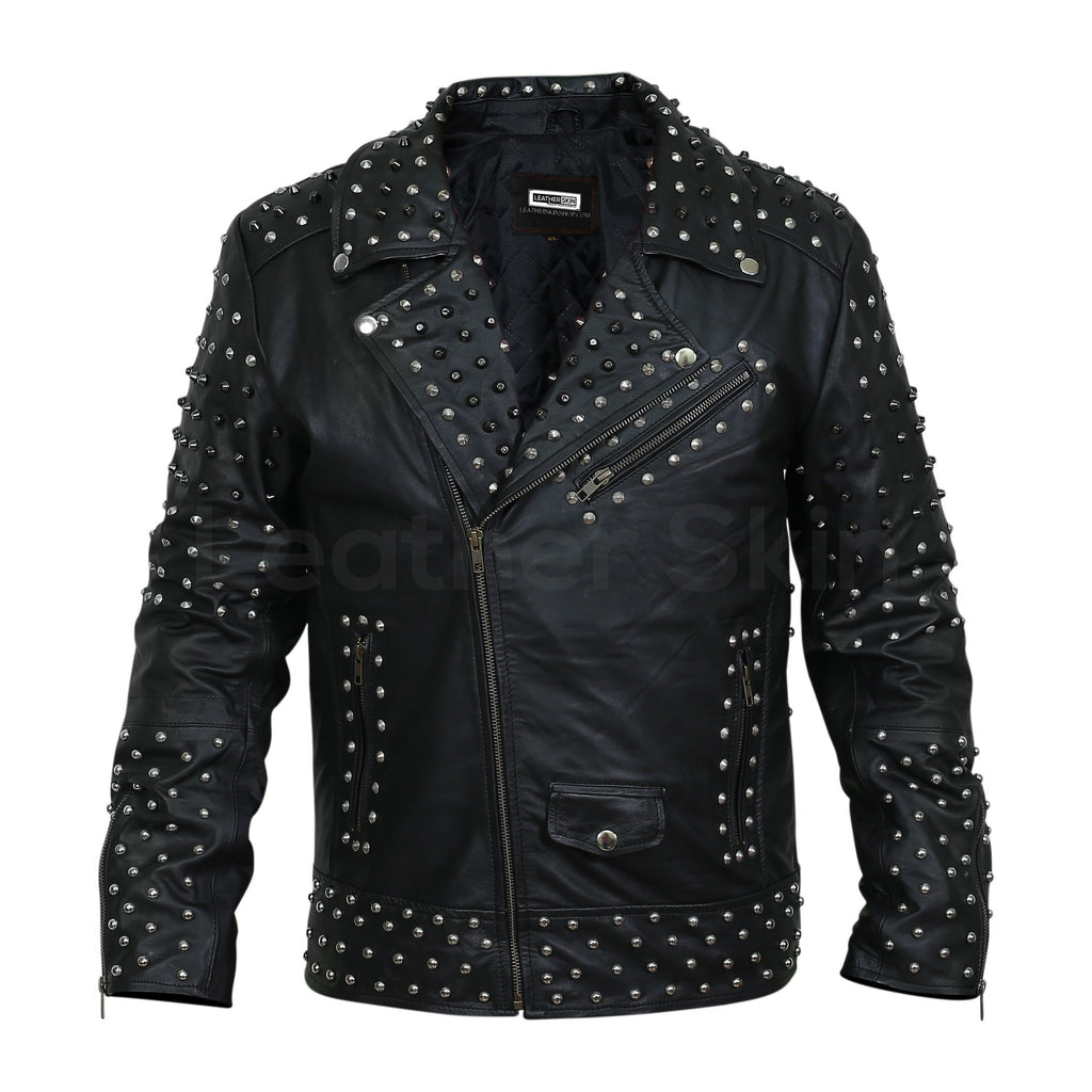 spiked leather jacket mens