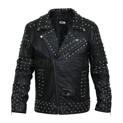 Men Black Cone Spike And Roundhead Studs Leather Jacket