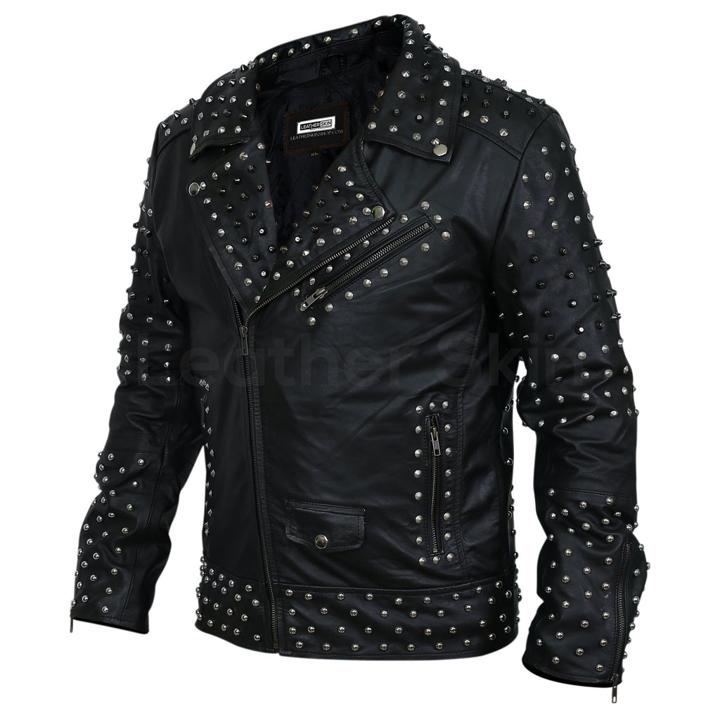 studded leather jacket mens