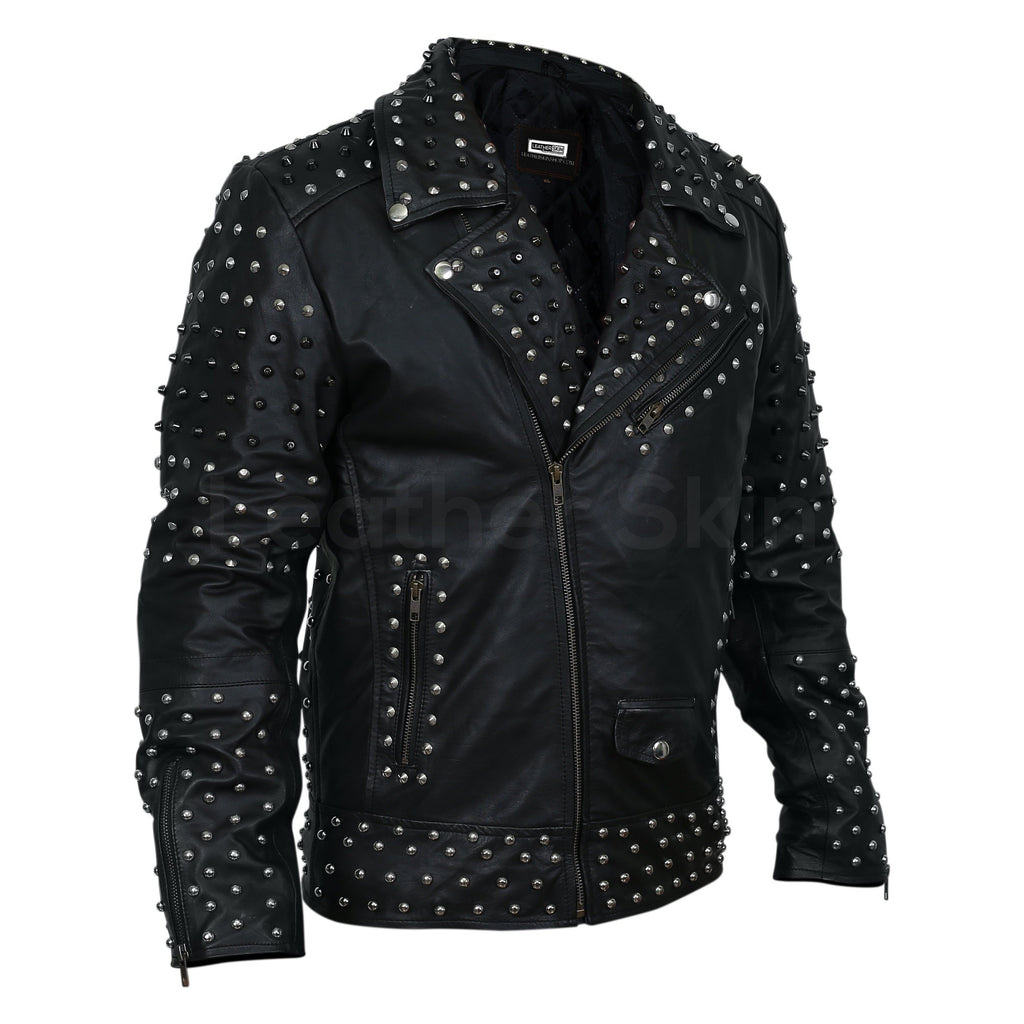 mens spike punk leather jacket