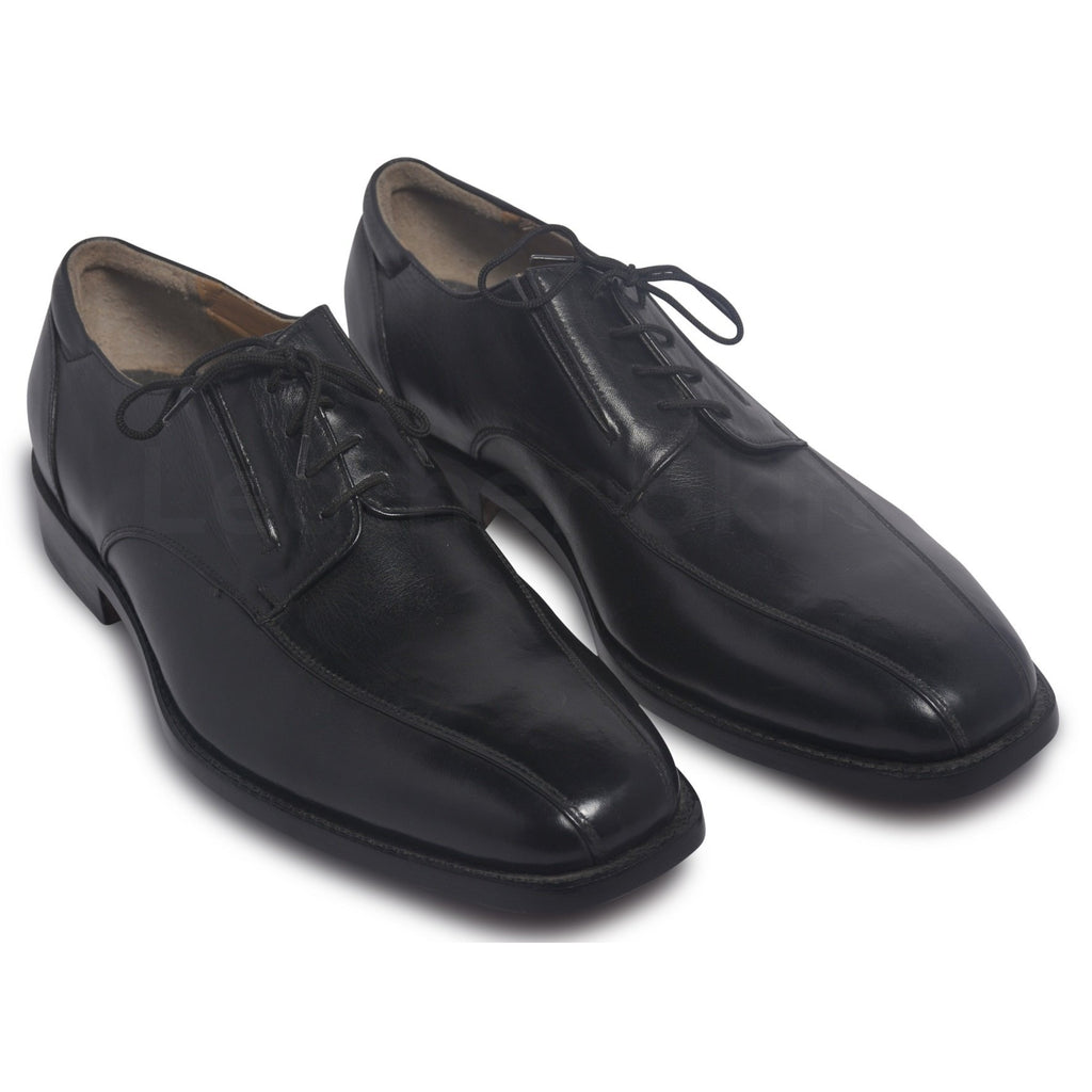 derby black shoes with vamp border