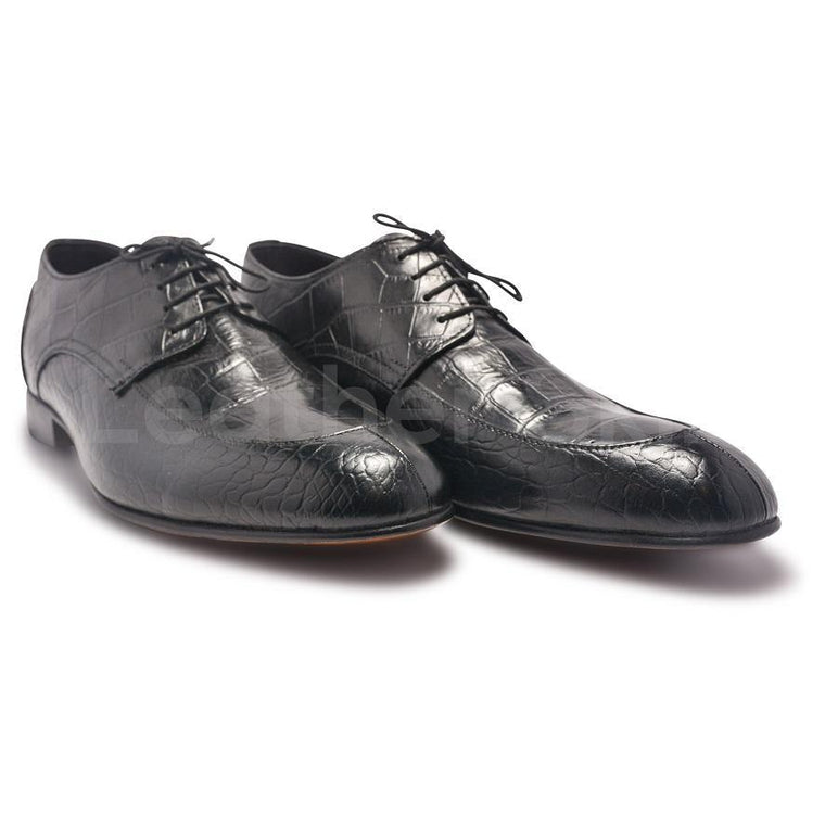 Men Black Derby Leather Shoes with Crocodile Pattern