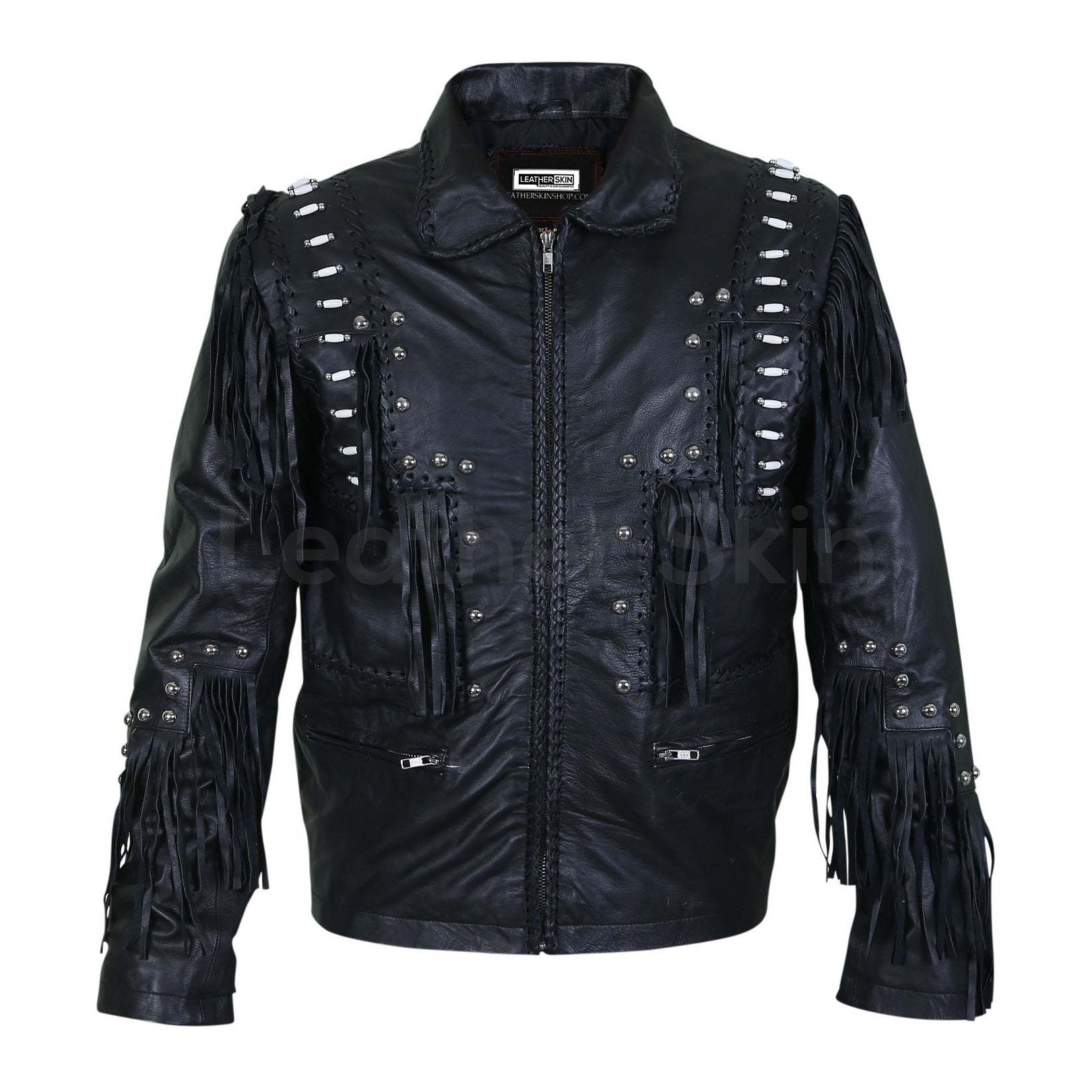 Men Black Fringes White Beads Leather Jacket with Round Studs