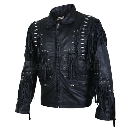 fringed leather jacket mens