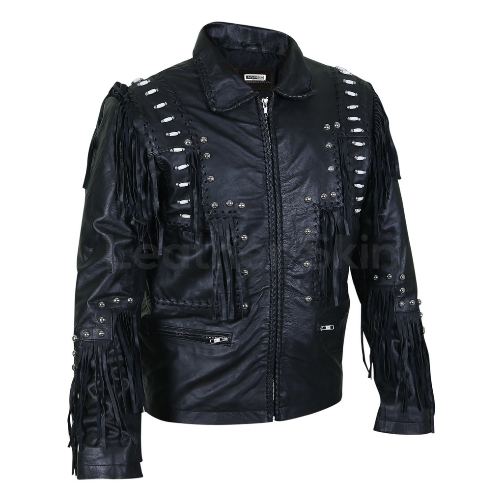 black mens leather jacket with beads