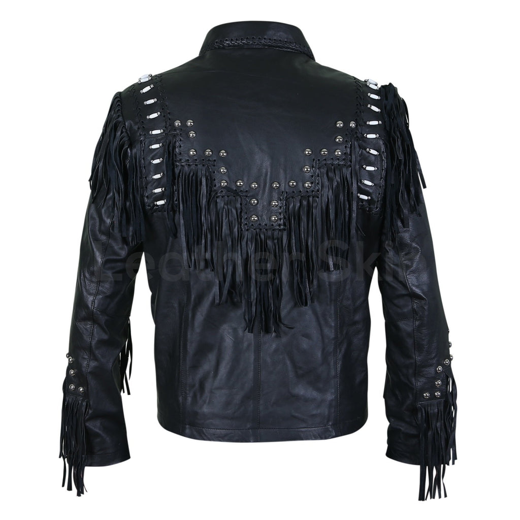 black leather jacket with white beads mens