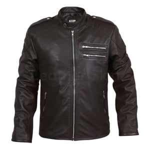 two zippers on chest leather jacket