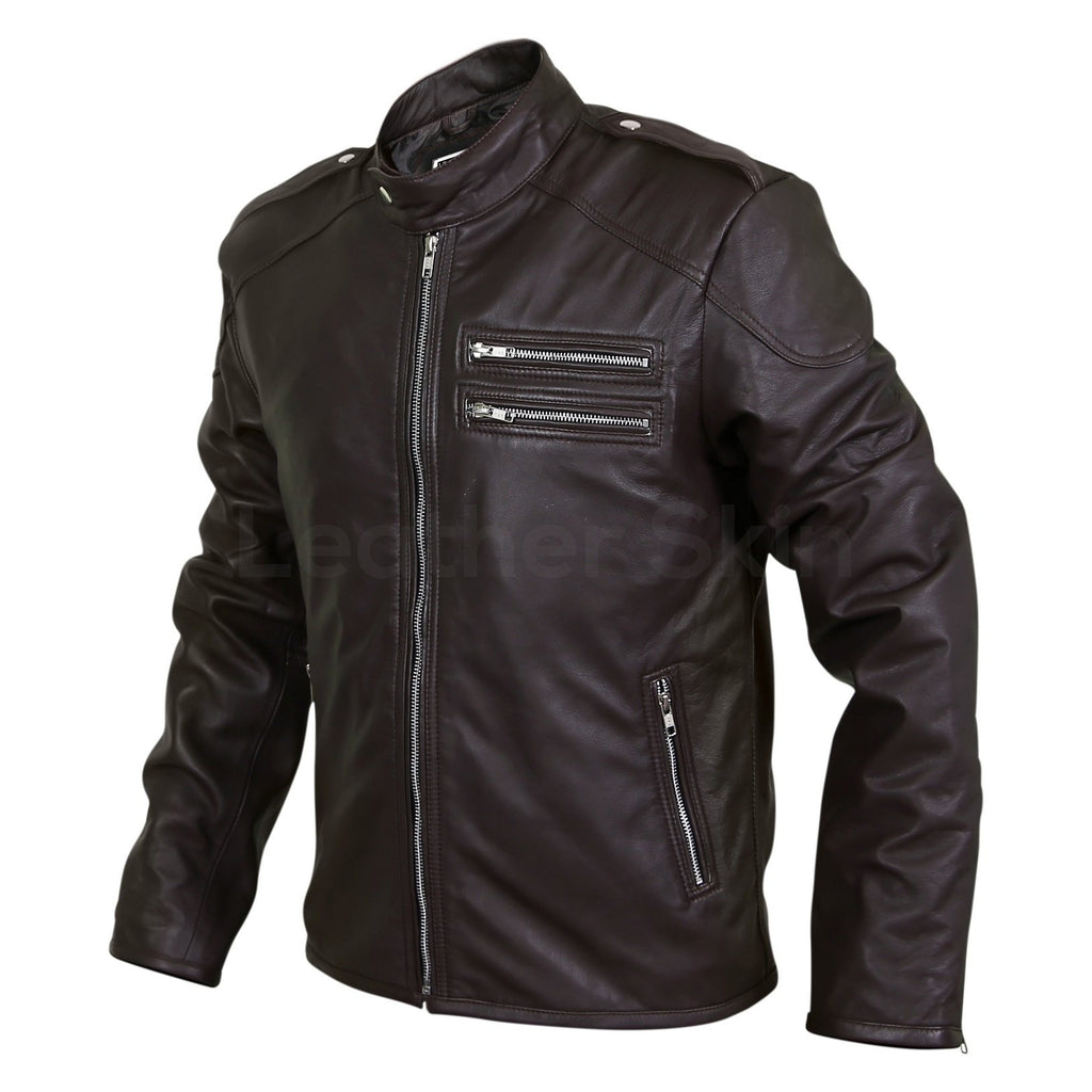 mens black genuine leather jacket with dual chest pockets