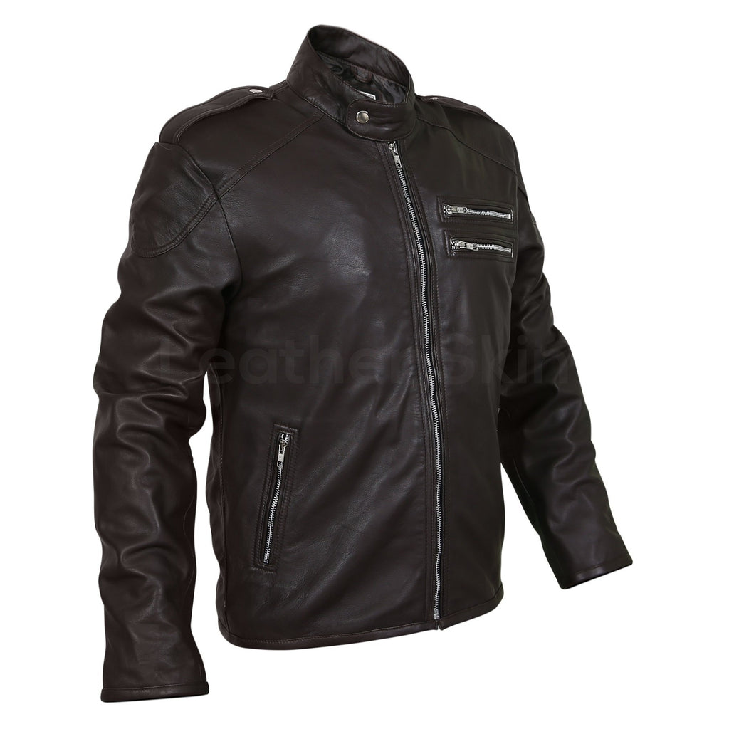 black real leather jacket with dual zipper pockets