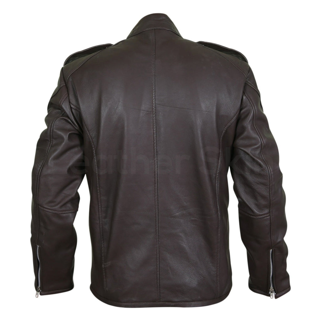 Men Black Genuine Leather Jacket with Double zippers on chest