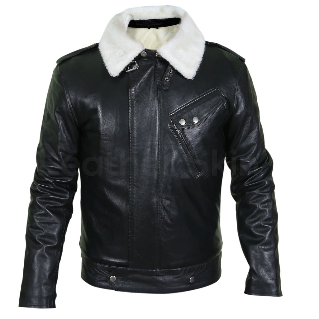 mens jacket with white fur collar