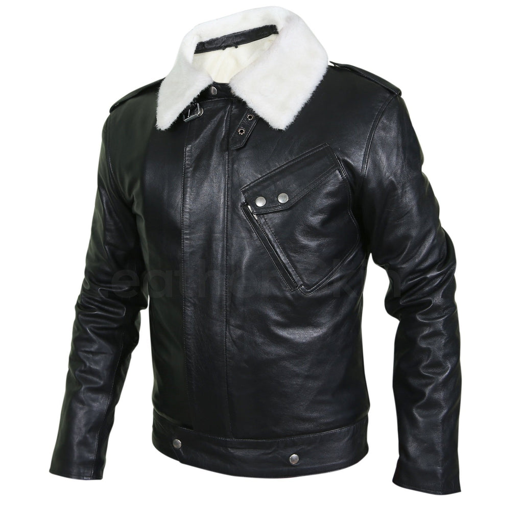 black leather jacket with fur mens