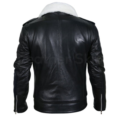 Men Black Genuine Leather Jacket with White Fur Collar