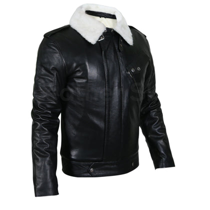 black genuine leather jacket with fur mens