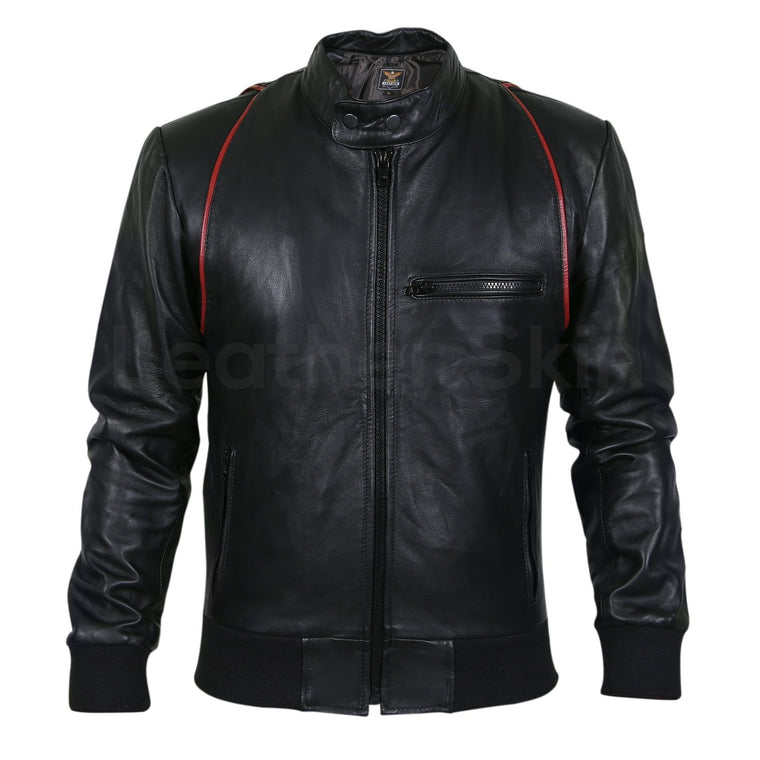 Men Black Genuine Leather jacket with Red Stripe Design