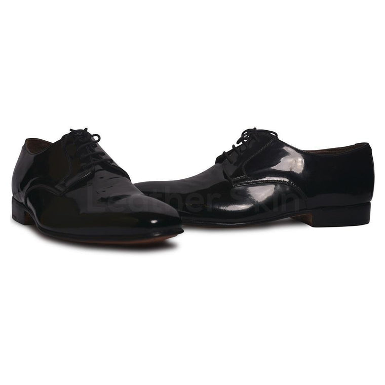 Men Black Glossy Patent Derby Genuine Leather Shoes with Laces