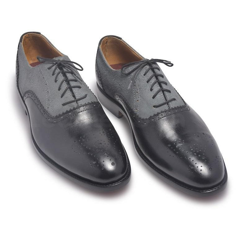 two tone black gray leather shoes