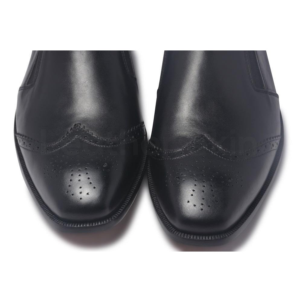 black brogue leather shoes for men