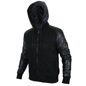 Men Black Hooded Jacket with Leather Sleeves