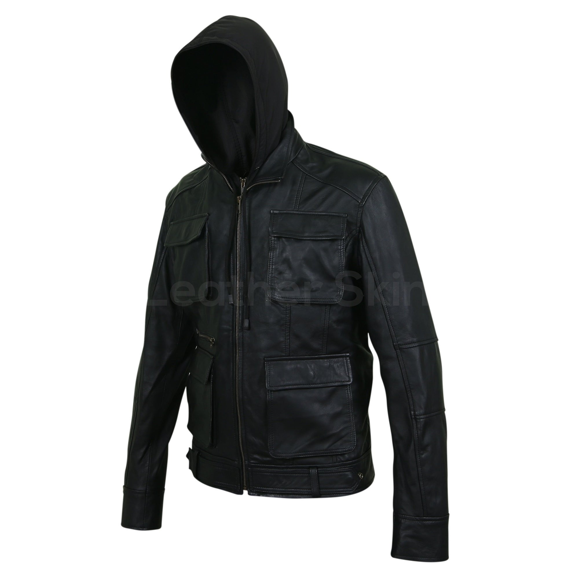 Leather Skin Men Black Fashion Hooded Premium Genuine Leather Jacket
