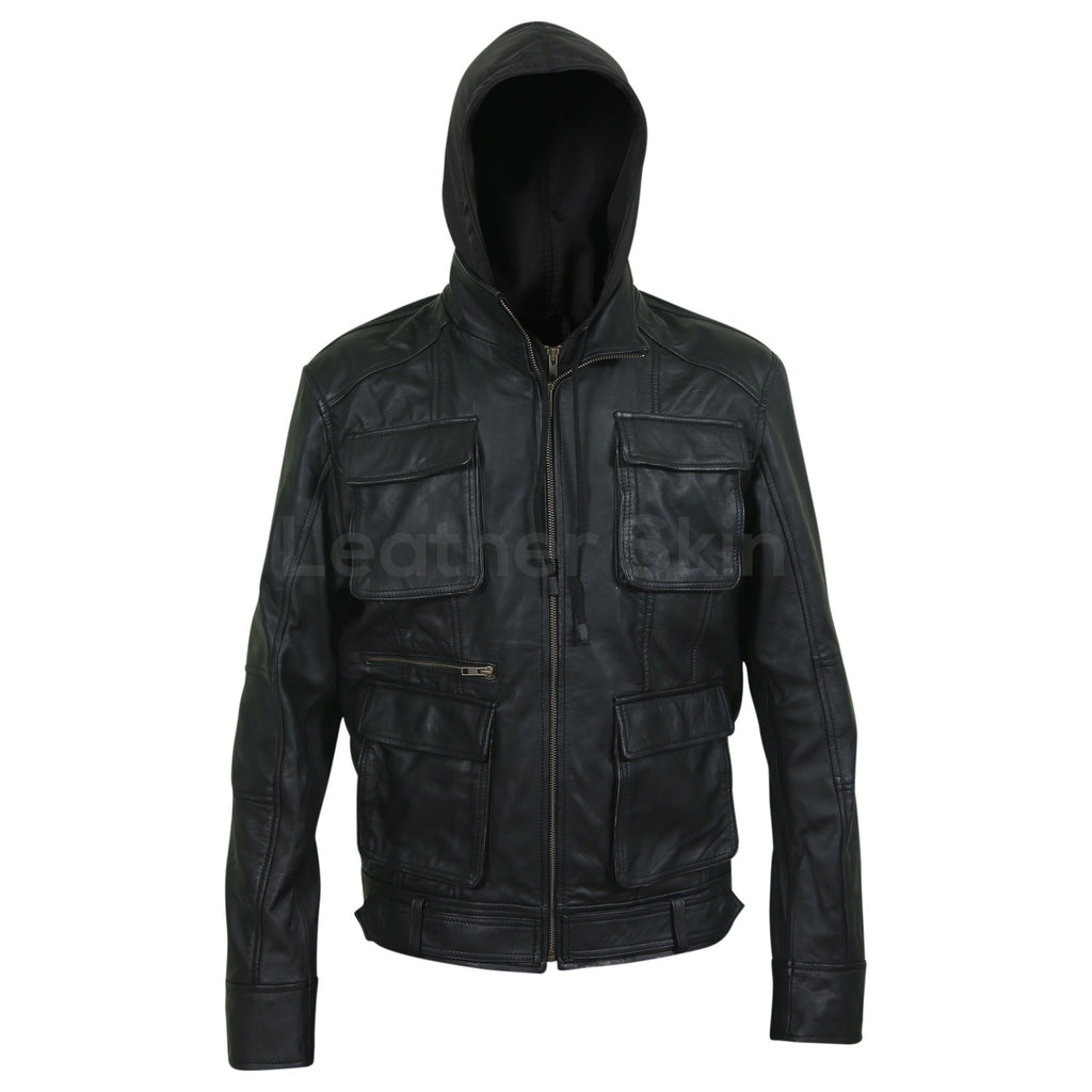 men leather jacket with fabric hoodie
