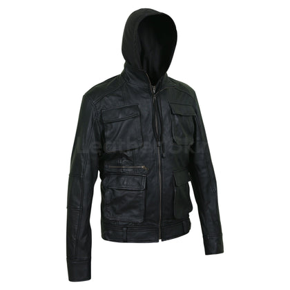 genuine leather jacket with hood for men