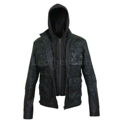 mens real leather jacket with hood