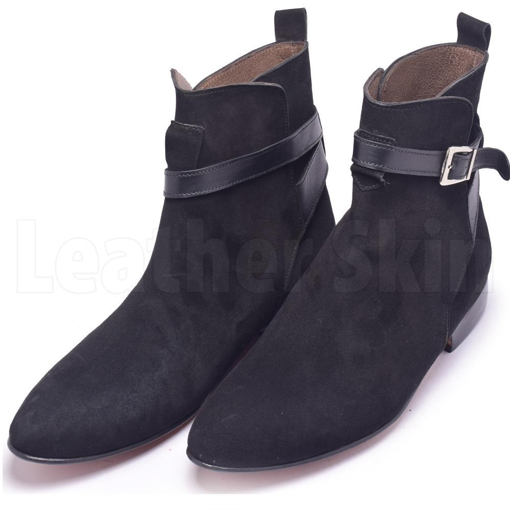 Men Black Jodhpurs Sude Leather Boots with Genuine Leather Handmade Straps