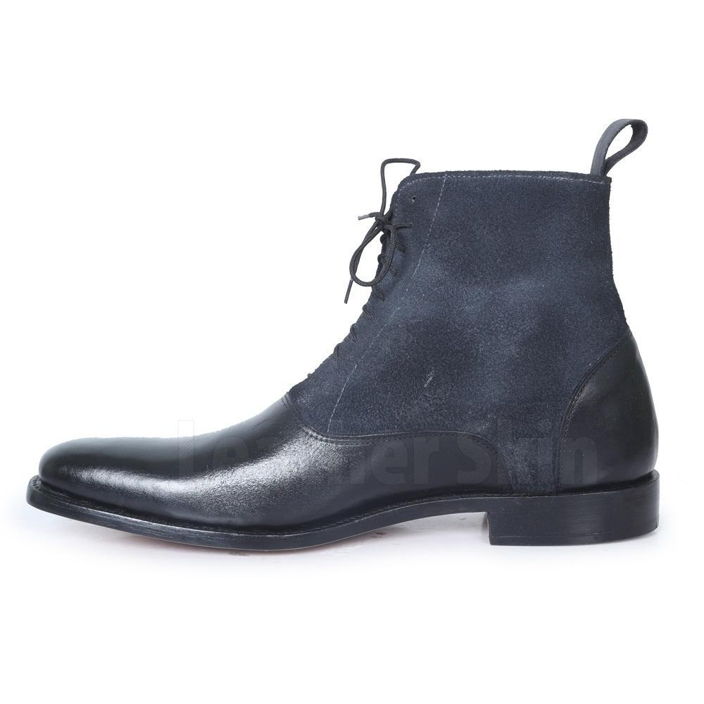 Men Black Lace Up Suede & Genuine Leather Boots