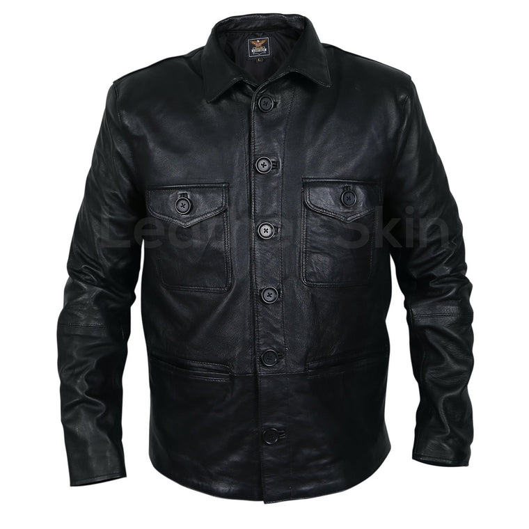 Men Black Leather Coat with button closure chest pockets and front
