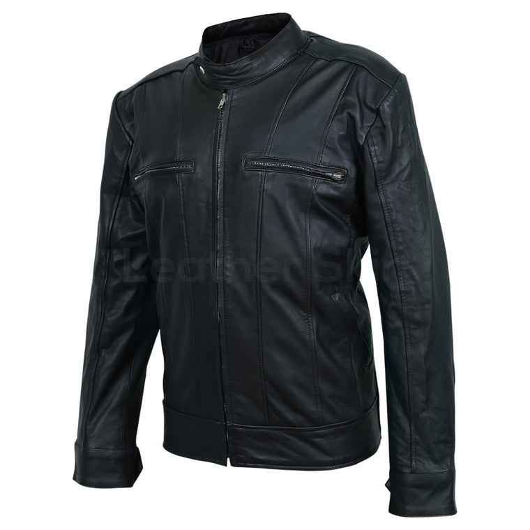 Men Black Leather Jacket with Vertical Stitching on Front