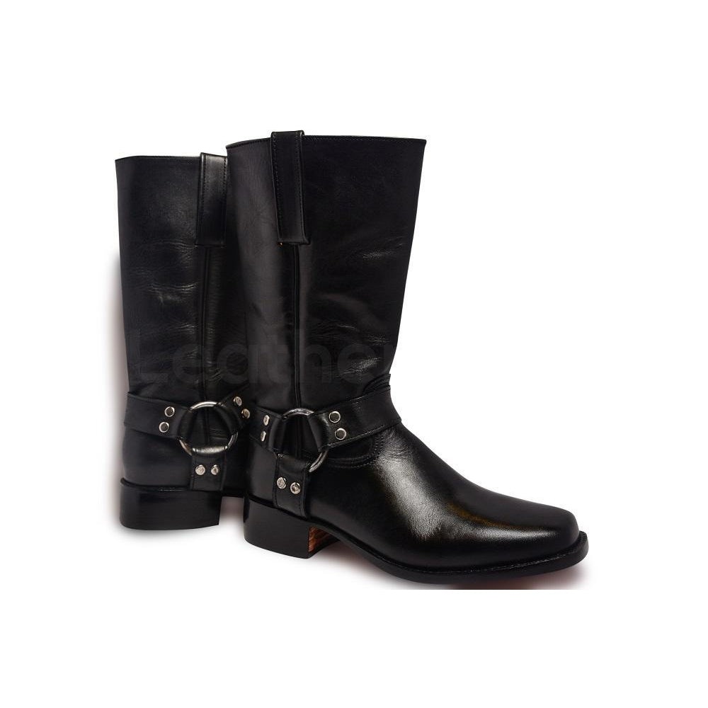 Men Black Leather Motorcycle Boots With Metal Hoops Leather Skin Shop