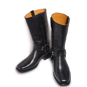 Men Black Leather Motorcycle Boots with Metal Hoops