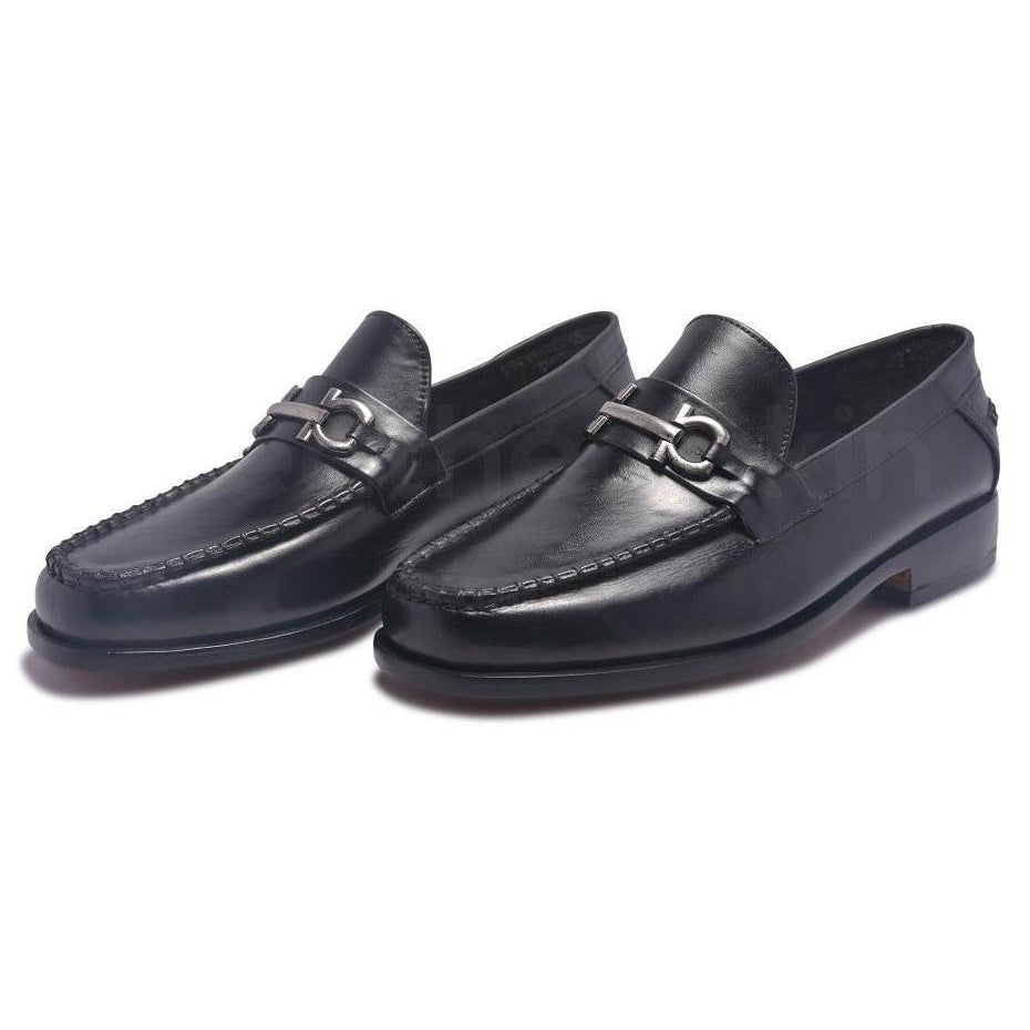 Black Loafer with Metal Decoration