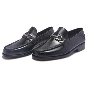 Men Black Loafer Slip-On Genuine Leather Shoes with Metal On Strap