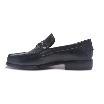 Black Leather Loafer Shoes with Slip-On Design