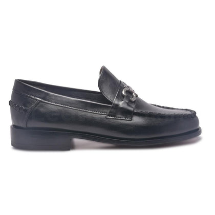 Men Black Leather Shoes with Slip-On