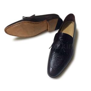 Men Black Moccasins Tassel Handmade Genuine Leather Shoes