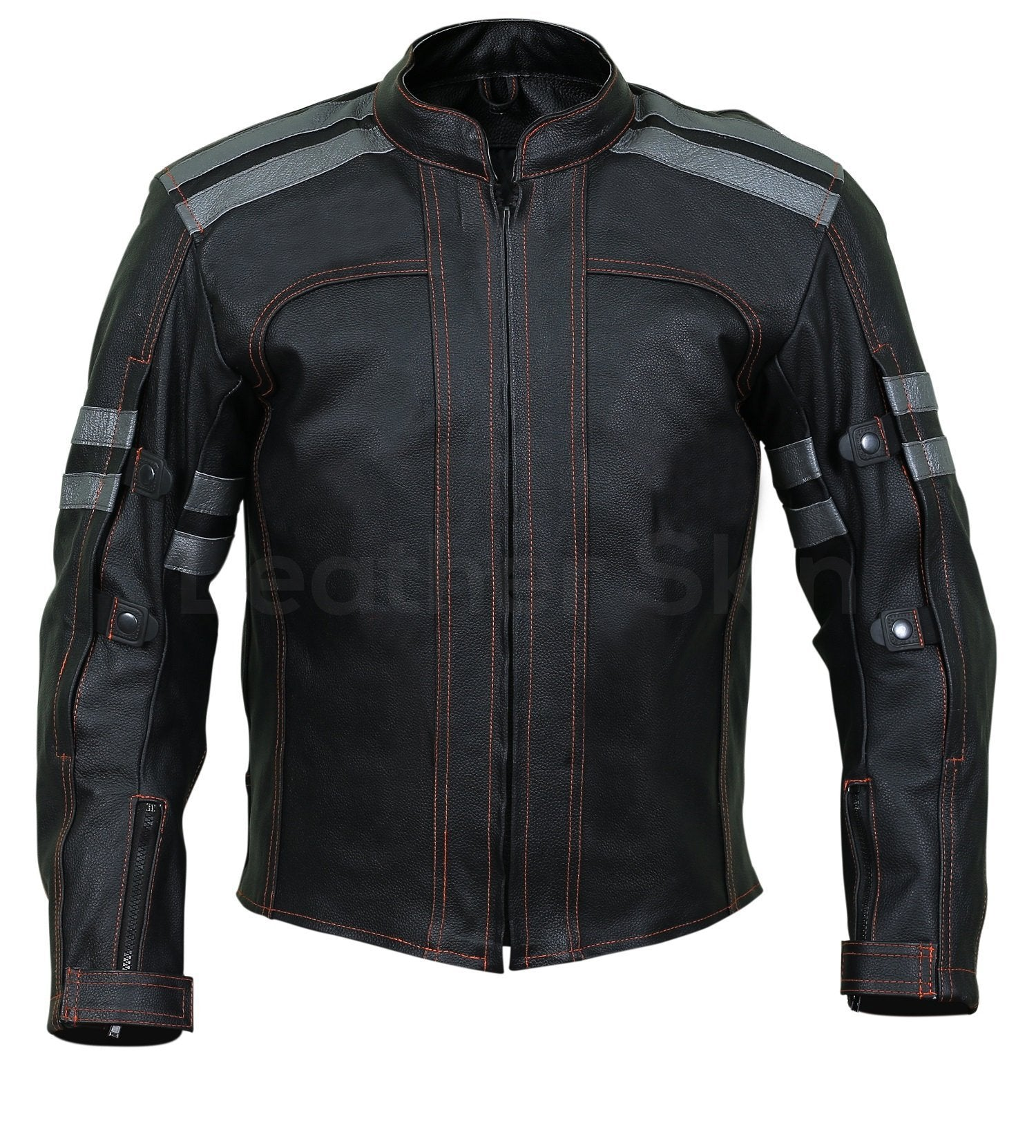 Men Black Motorcycle Biker Leather Jacket with Red Stitching