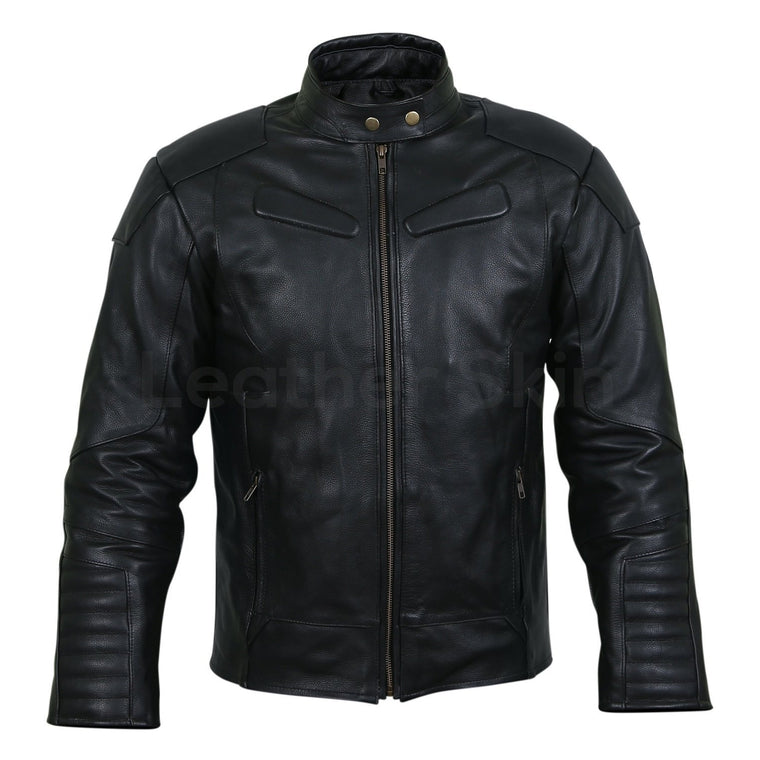 Men Black Motorcycle Biker Sleeve Padded Genuine Leather Jacket