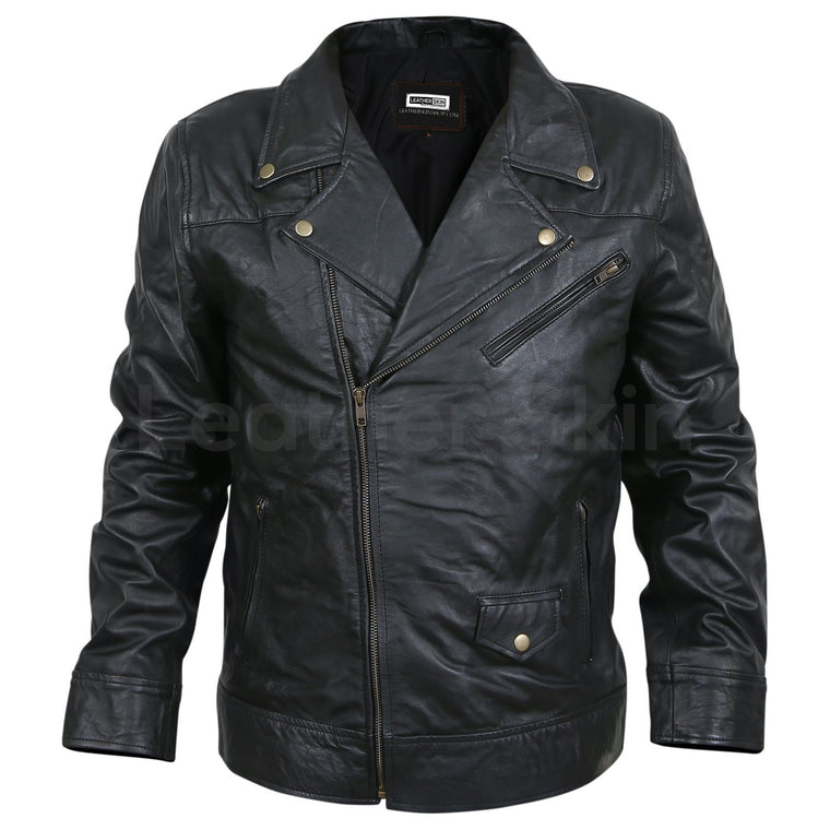 Men Black Motorcycle Genuine Leather Jacket with Antique Zippers