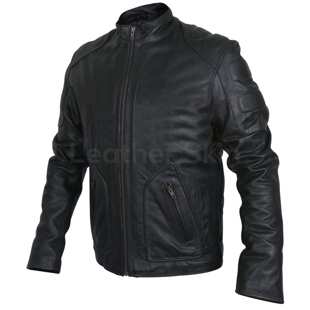 motorcycle leather jacket in black for mens