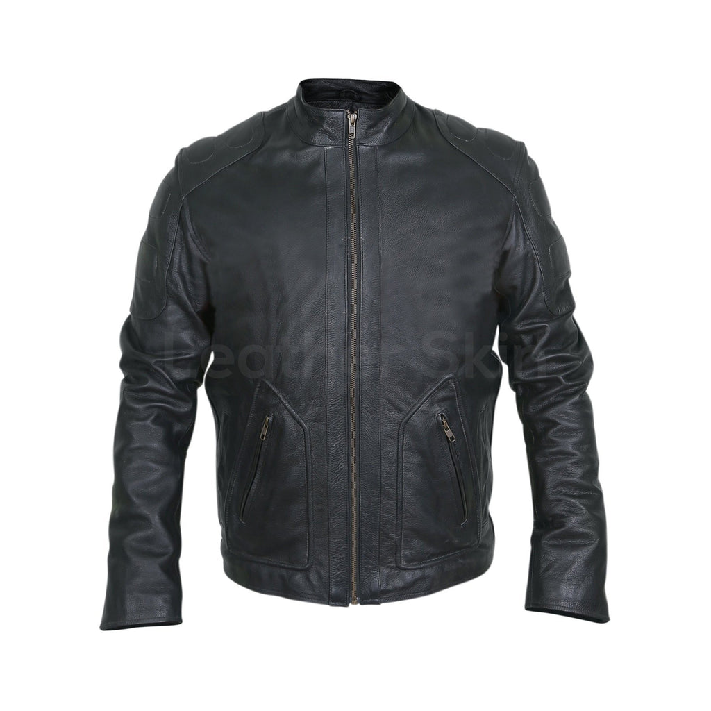 mens padded genuine motorcycle leather jacket