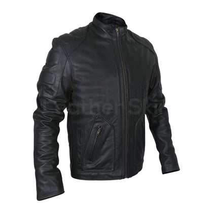 padded motorcycle jacket in black color