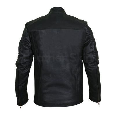 Men Black Motorcycle Genuine Leather Jacket with Shoulder Pads