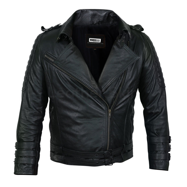Men Black Motorcycle Leather Jacket with Two Belts and Three Sleeve Straps