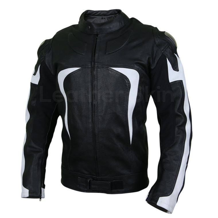 Men Black Motorcycle Leather Jacket with White Stripe Panels