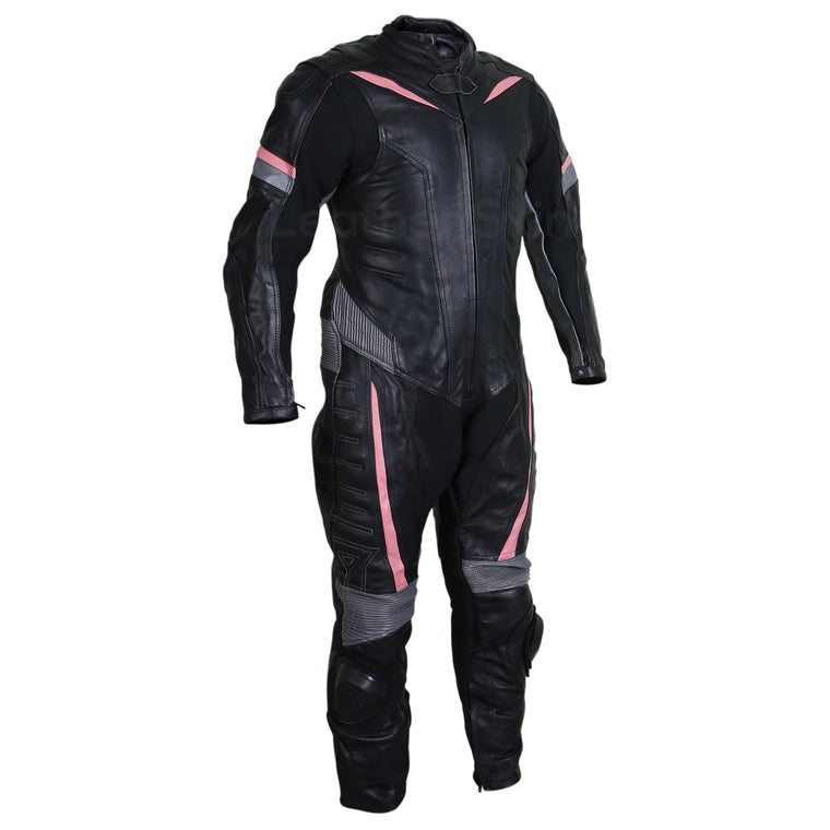 Men Black Motorcycle Leather Suit with Gray and Pink Stripes