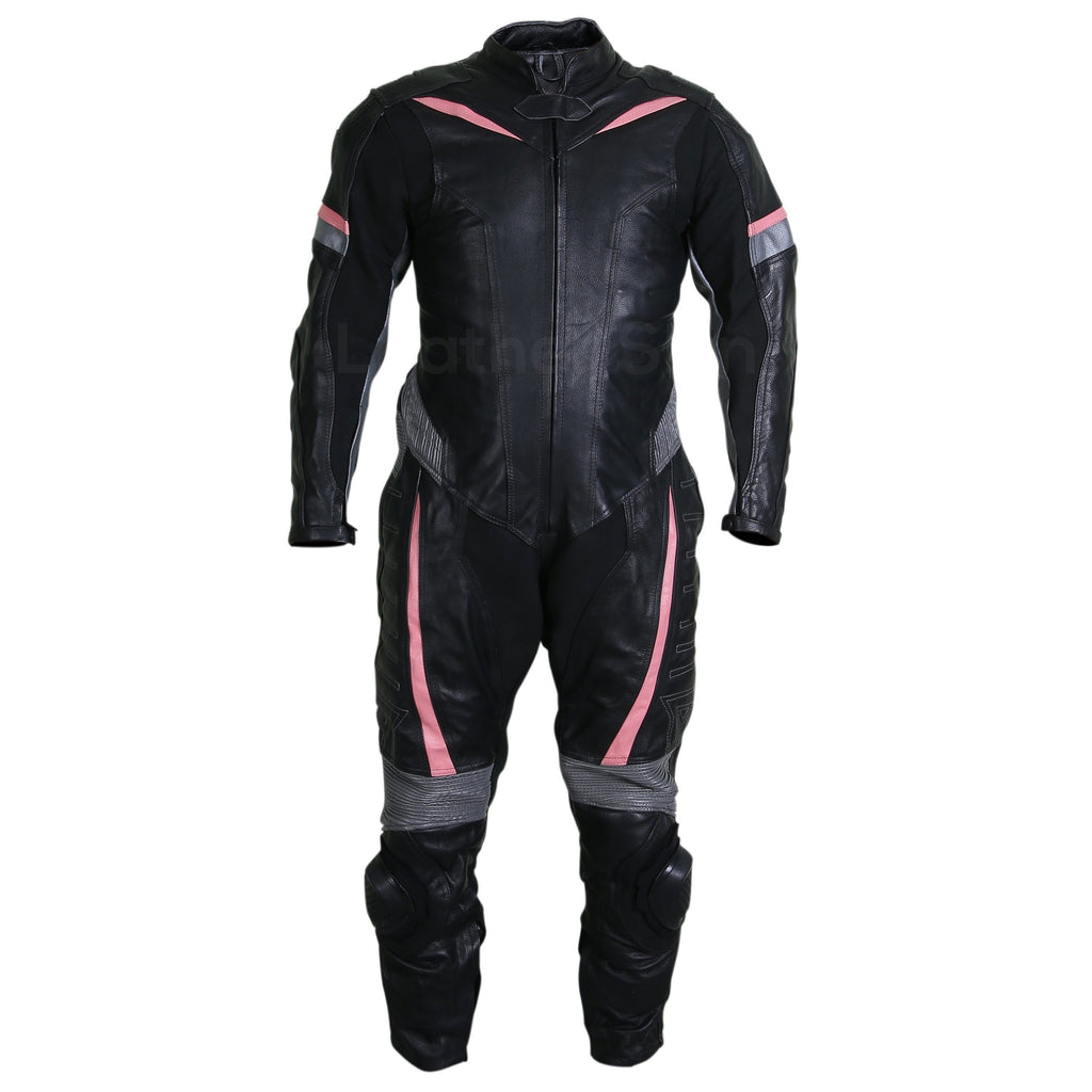 motorcycle leather suit mens in black color