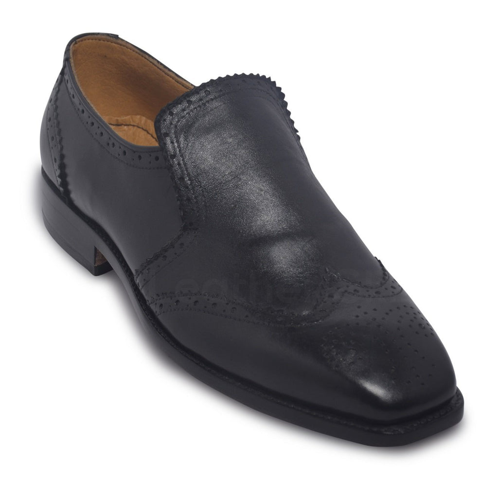 mens wingtip brogue shoes black